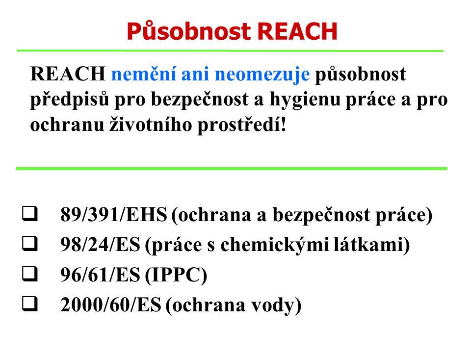 REACH nemění ani neomezuje působnost předpisů pro bezpečnost a hygienu práce a pro ochranu životního prostředí!  89/391/EHS (ochrana a bezpečnost prá