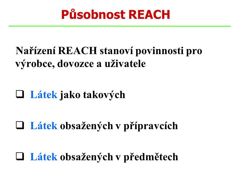 Působnost REACH Nařízení REACH stanoví povinnosti pro výrobce, dovozce a uživatele  Látek jako takových  Látek obsažených v přípravcích  Látek obsažených v předmětech