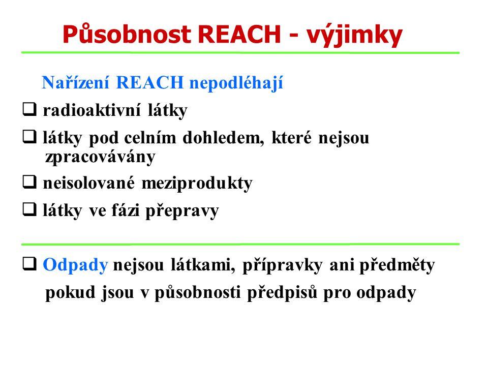 Působnost REACH - výjimky Nařízení REACH nepodléhají  radioaktivní látky  látky pod celním dohledem, které nejsou zpracovávány  neisolované meziprodukty  látky ve fázi přepravy  Odpady nejsou látkami, přípravky ani předměty pokud jsou v působnosti předpisů pro odpady