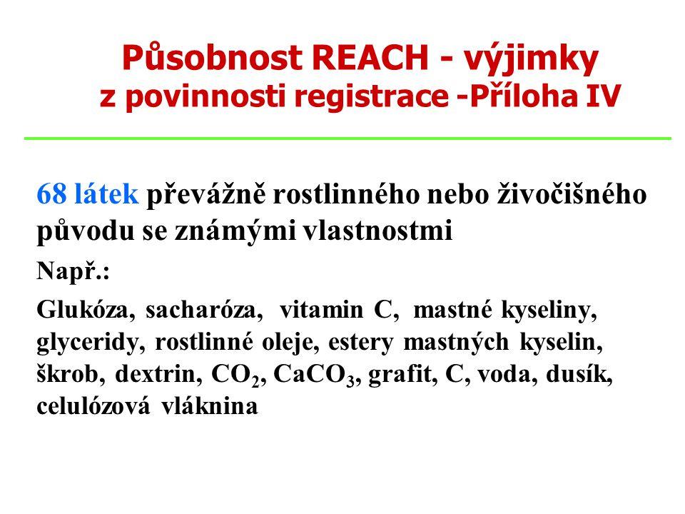 Působnost REACH - výjimky z povinnosti registrace -Příloha IV 68 látek převážně rostlinného nebo živočišného původu se známými vlastnostmi Např.: Gluk