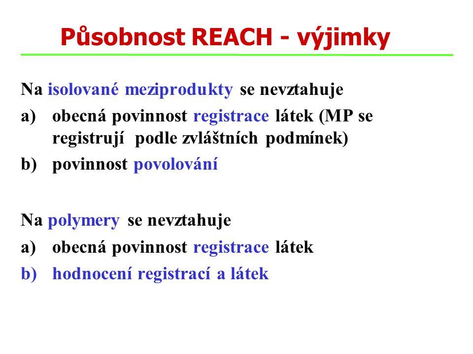 Působnost REACH - výjimky Na isolované meziprodukty se nevztahuje a)obecná povinnost registrace látek (MP se registrují podle zvláštních podmínek) b)p