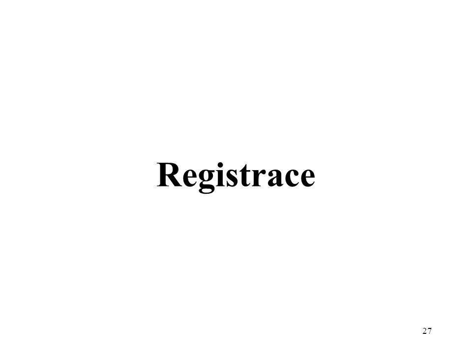 27 Registrace