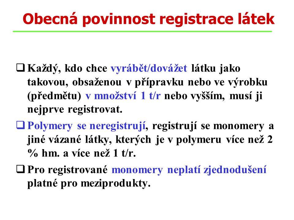 Obecná povinnost registrace látek  Každý, kdo chce vyrábět/dovážet látku jako takovou, obsaženou v přípravku nebo ve výrobku (předmětu) v množství 1 t/r nebo vyšším, musí ji nejprve registrovat.
