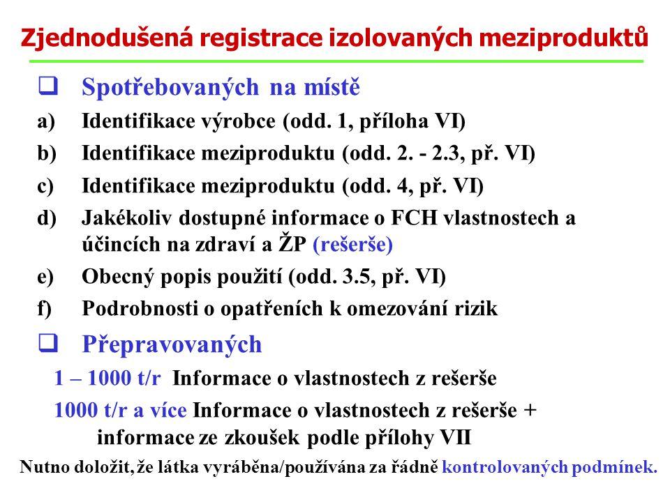  Spotřebovaných na místě a)Identifikace výrobce (odd. 1, příloha VI) b)Identifikace meziproduktu (odd. 2. - 2.3, př. VI) c)Identifikace meziproduktu