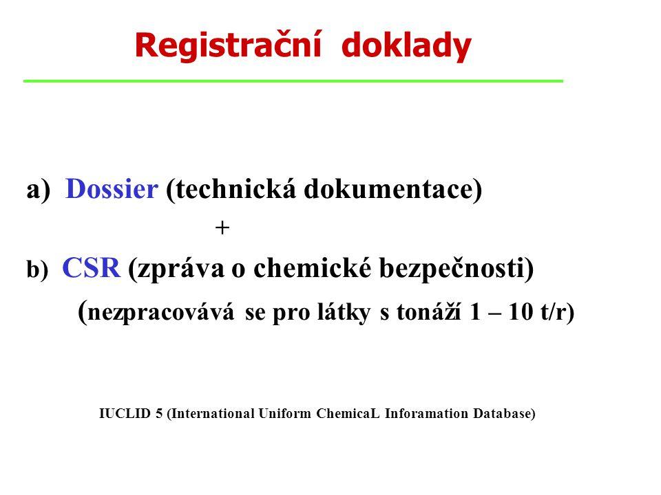 Registrační doklady a) Dossier (technická dokumentace) + b) CSR (zpráva o chemické bezpečnosti) ( nezpracovává se pro látky s tonáží 1 – 10 t/r) IUCLID 5 (International Uniform ChemicaL Inforamation Database)
