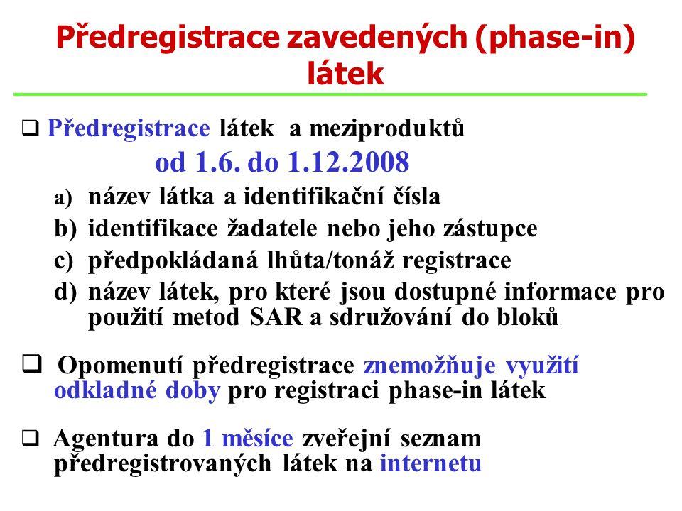 Předregistrace zavedených (phase-in) látek  Předregistrace látek a meziproduktů od 1.6. do 1.12.2008 a) název látka a identifikační čísla b) identifi
