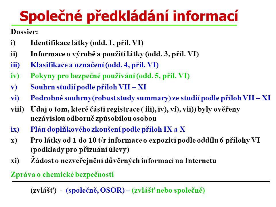 Společné předkládání informací Dossier: i)Identifikace látky (odd. 1, příl. VI) ii)Informace o výrobě a použití látky (odd. 3, příl. VI) iii)Klasifika