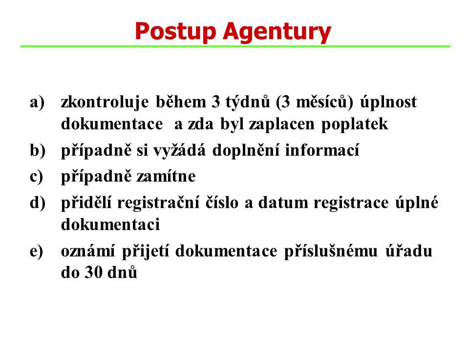 a)zkontroluje během 3 týdnů (3 měsíců) úplnost dokumentace a zda byl zaplacen poplatek b)případně si vyžádá doplnění informací c)případně zamítne d)přidělí registrační číslo a datum registrace úplné dokumentaci e)oznámí přijetí dokumentace příslušnému úřadu do 30 dnů Postup Agentury