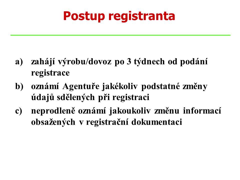 a)zahájí výrobu/dovoz po 3 týdnech od podání registrace b)oznámí Agentuře jakékoliv podstatné změny údajů sdělených při registraci c)neprodleně oznámí jakoukoliv změnu informací obsažených v registrační dokumentaci Postup registranta
