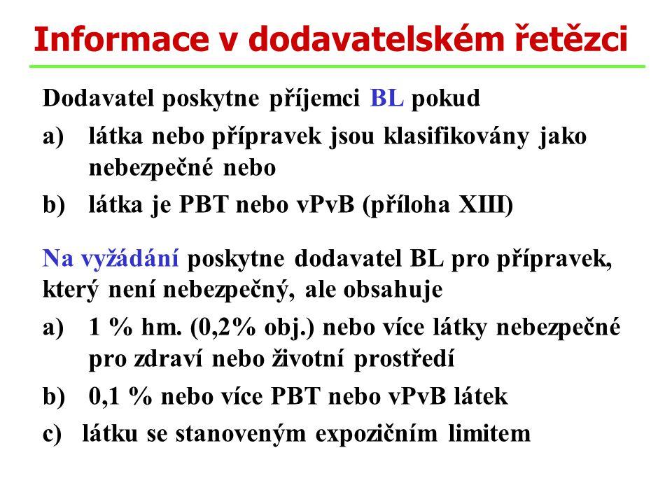 Dodavatel poskytne příjemci BL pokud a)látka nebo přípravek jsou klasifikovány jako nebezpečné nebo b)látka je PBT nebo vPvB (příloha XIII) Na vyžádání poskytne dodavatel BL pro přípravek, který není nebezpečný, ale obsahuje a)1 % hm.