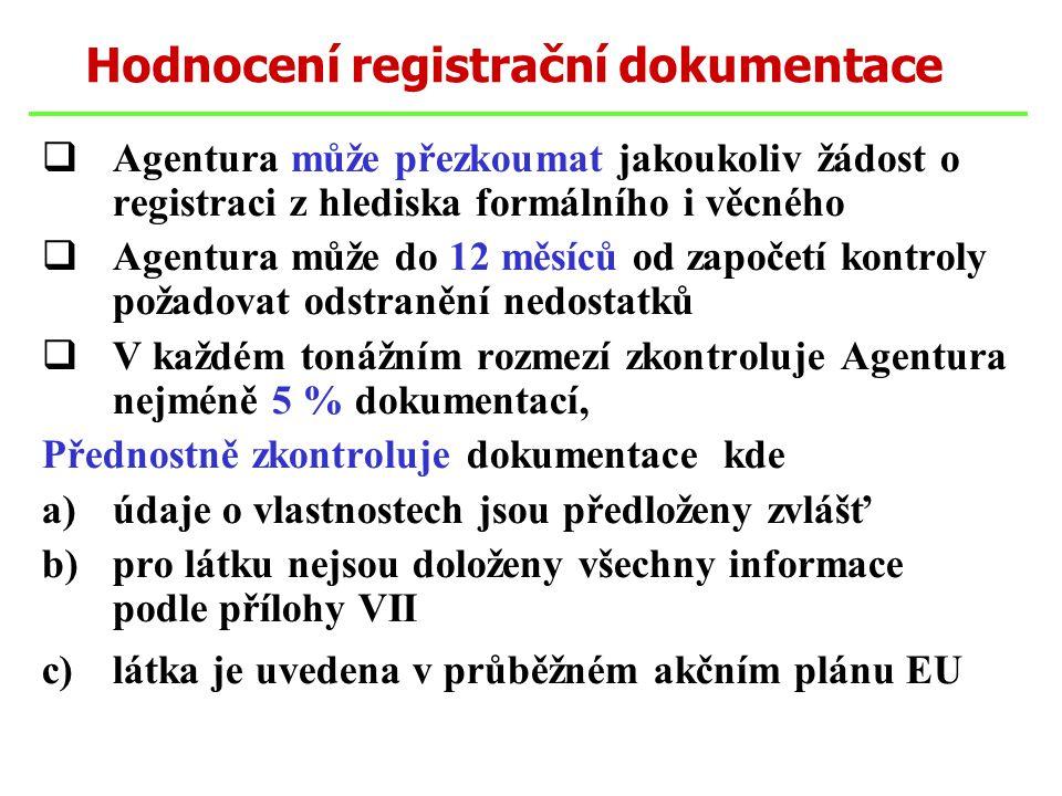 Agentura může přezkoumat jakoukoliv žádost o registraci z hlediska formálního i věcného  Agentura může do 12 měsíců od započetí kontroly požadovat odstranění nedostatků  V každém tonážním rozmezí zkontroluje Agentura nejméně 5 % dokumentací, Přednostně zkontroluje dokumentace kde a)údaje o vlastnostech jsou předloženy zvlášť b)pro látku nejsou doloženy všechny informace podle přílohy VII c)látka je uvedena v průběžném akčním plánu EU Hodnocení registrační dokumentace