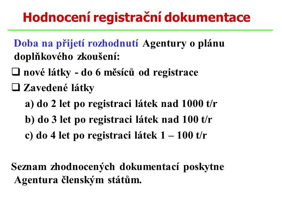 Doba na přijetí rozhodnutí Agentury o plánu doplňkového zkoušení:  nové látky - do 6 měsíců od registrace  Zavedené látky a) do 2 let po registraci látek nad 1000 t/r b) do 3 let po registraci látek nad 100 t/r c) do 4 let po registraci látek 1 – 100 t/r Seznam zhodnocených dokumentací poskytne Agentura členským státům.