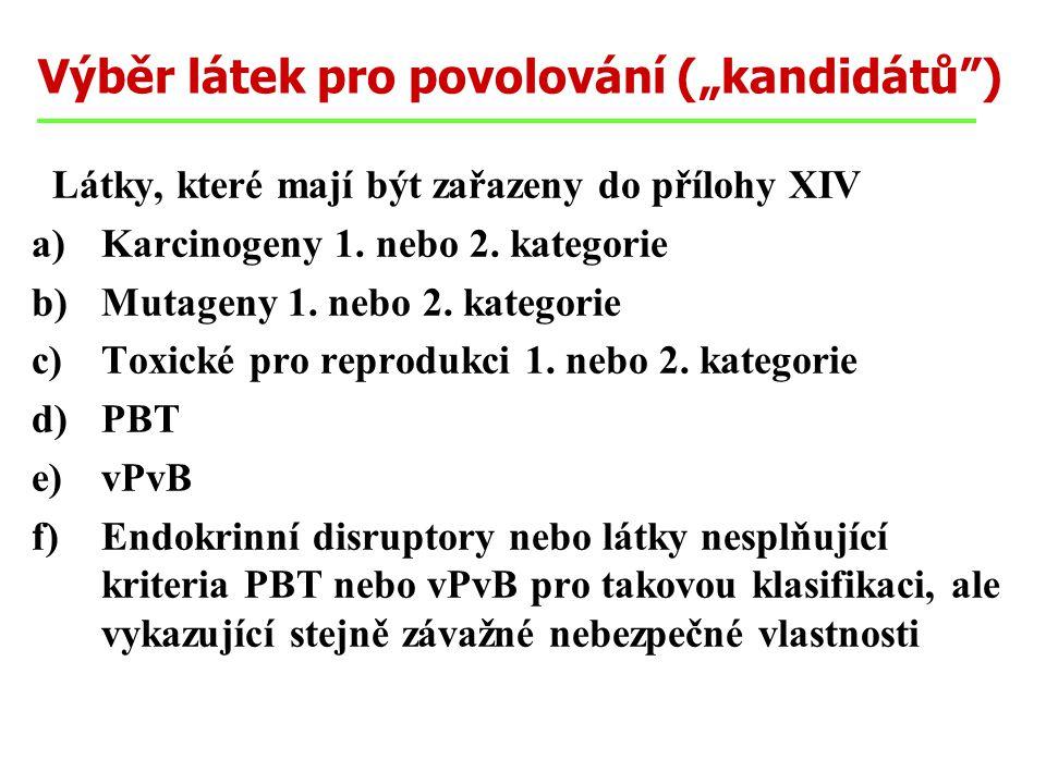 """Výběr látek pro povolování (""""kandidátů"""") Látky, které mají být zařazeny do přílohy XIV a)Karcinogeny 1. nebo 2. kategorie b)Mutageny 1. nebo 2. katego"""