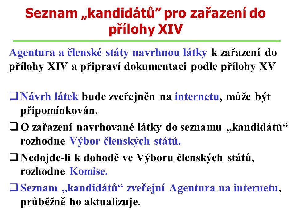 """Seznam """"kandidátů"""" pro zařazení do přílohy XIV Agentura a členské státy navrhnou látky k zařazení do přílohy XIV a připraví dokumentaci podle přílohy"""