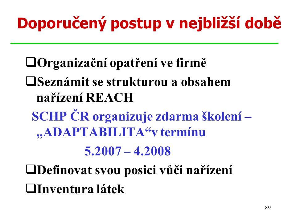89 Doporučený postup v nejbližší době  Organizační opatření ve firmě  Seznámit se strukturou a obsahem nařízení REACH SCHP ČR organizuje zdarma škol