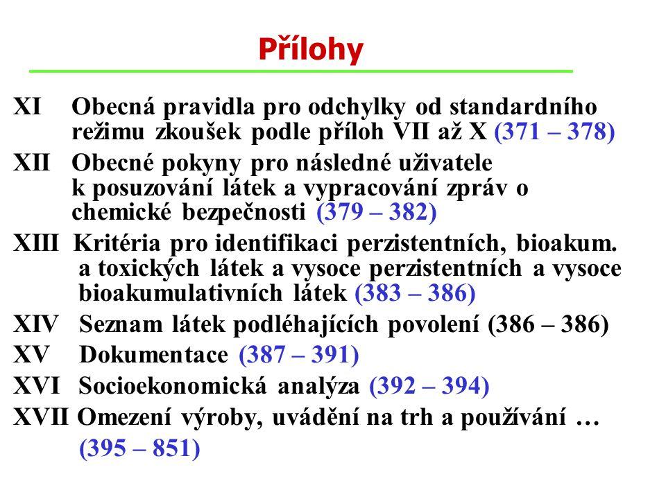 Přílohy XI Obecná pravidla pro odchylky od standardního režimu zkoušek podle příloh VII až X (371 – 378) XII Obecné pokyny pro následné uživatele k posuzování látek a vypracování zpráv o chemické bezpečnosti (379 – 382) XIIIKritéria pro identifikaci perzistentních, bioakum.
