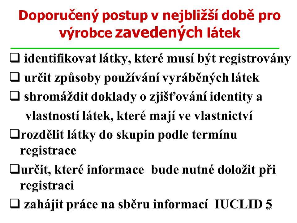 90 Doporučený postup v nejbližší době pro výrobce zavedených látek  identifikovat látky, které musí být registrovány  určit způsoby používání vyráběných látek  shromáždit doklady o zjišťování identity a vlastností látek, které mají ve vlastnictví  rozdělit látky do skupin podle termínu registrace  určit, které informace bude nutné doložit při registraci  zahájit práce na sběru informací IUCLID 5