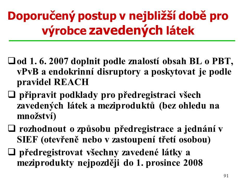 91 Doporučený postup v nejbližší době pro výrobce zavedených látek  od 1. 6. 2007 doplnit podle znalostí obsah BL o PBT, vPvB a endokrinní disruptory