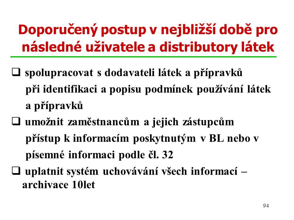 94 Doporučený postup v nejbližší době pro následné uživatele a distributory látek  spolupracovat s dodavateli látek a přípravků při identifikaci a po