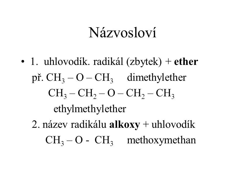 Názvosloví 1. uhlovodík. radikál (zbytek) + ether př.