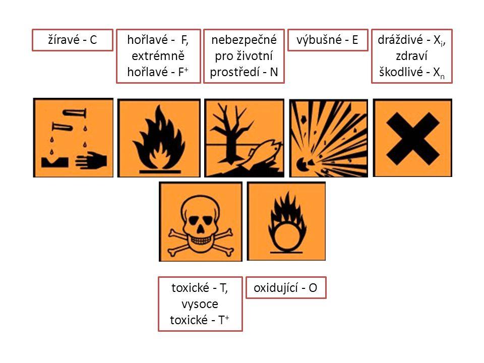 hořlavé - F, extrémně hořlavé - F + žíravé - Cnebezpečné pro životní prostředí - N výbušné - Edráždivé - X i, zdraví škodlivé - X n oxidující - Otoxic