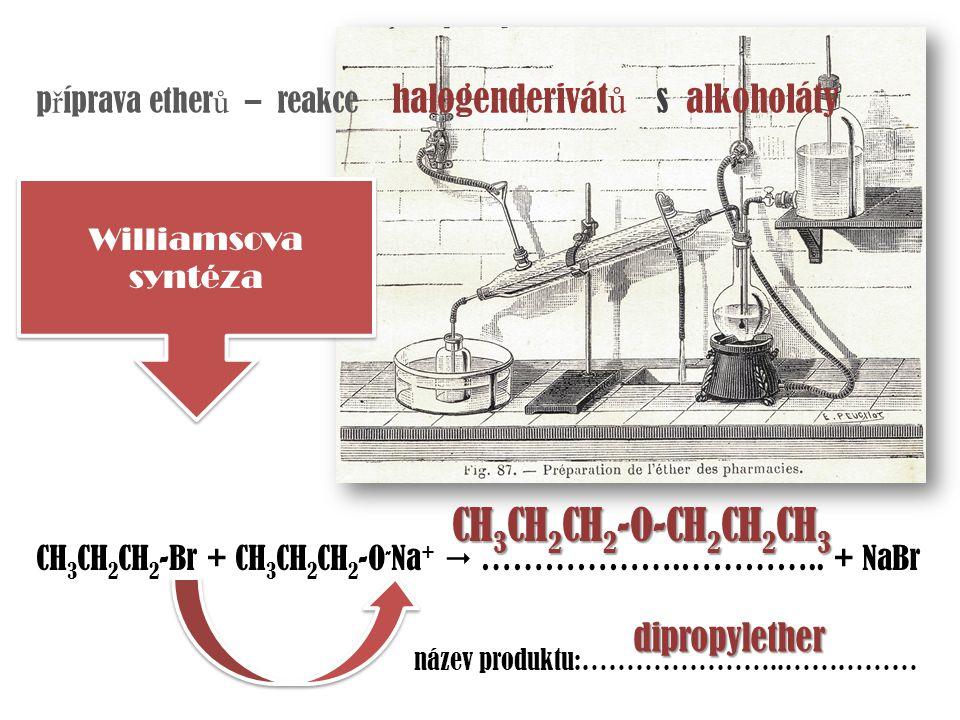 p ř íprava ether ů – reakce halogenderivát ů s alkoholáty Williamsova syntéza CH 3 CH 2 CH 2 -Br + CH 3 CH 2 CH 2 -O - Na +  ……………….………….. + NaBr náz
