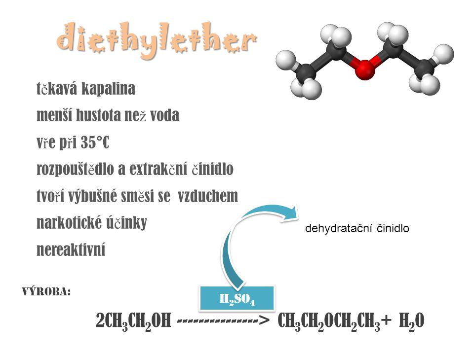 ethylenoxid cyklický ether plyn velmi reaktivní, neb je sní ž ena pevnost vazeb v cyklu jeho molekuly pnutím podez ř elý z karcinogenity pou ž ití: výroba ethylenglykolu výroba: katalyzovaná oxygenace ethylenu vzdušným kyslíkem kyslíkvoda