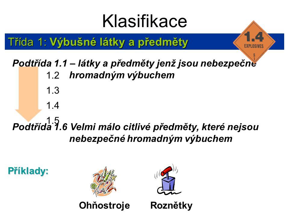 Klasifikace Třída 1: Výbušné látky a předměty Podtřída 1.1 – látky a předměty jenž jsou nebezpečné hromadným výbuchem Podtřída 1.6 Velmi málo citlivé