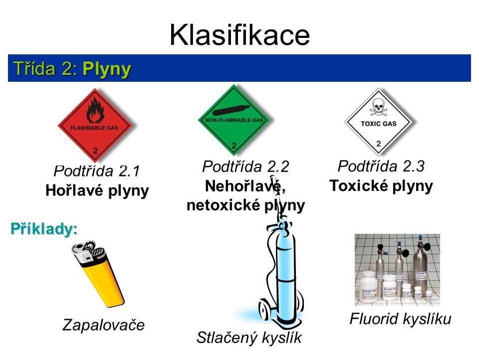 Klasifikace Třída 2: Plyny Zapalovače Stlačený kyslík Fluorid kyslíku Příklady: Podtřída 2.2 Nehořlavé, netoxické plyny Podtřída 2.3 Toxické plyny Pod