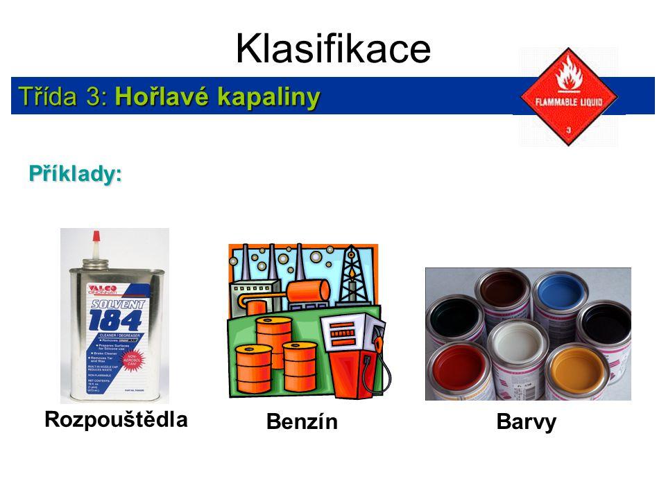 Klasifikace Třída 3: Hořlavé kapaliny Příklady: Rozpouštědla Benzín Barvy