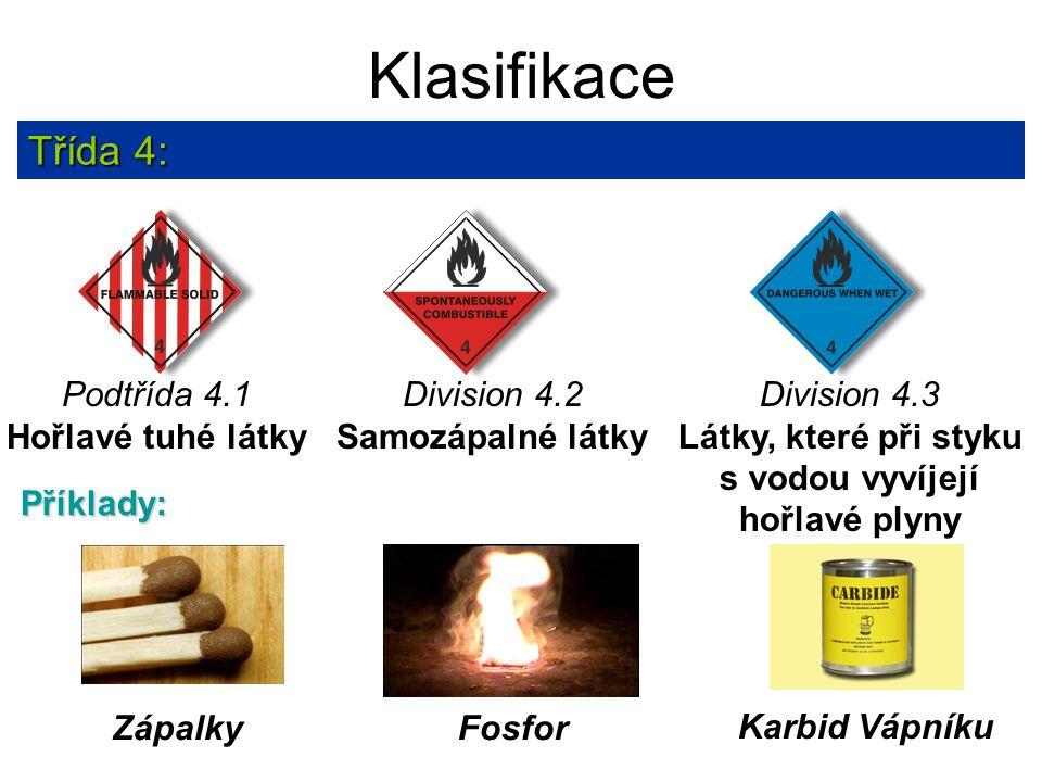 Klasifikace Třída 4: Karbid Vápníku Zápalky Příklady: Fosfor Division 4.3 Látky, které při styku s vodou vyvíjejí hořlavé plyny Podtřída 4.1 Hořlavé t
