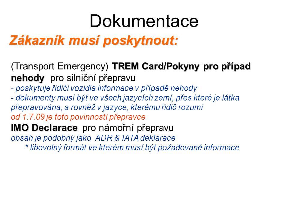 Dokumentace Zákazník musí poskytnout: TREM Card/Pokyny pro případ nehody (Transport Emergency) TREM Card/Pokyny pro případ nehody pro silniční přeprav