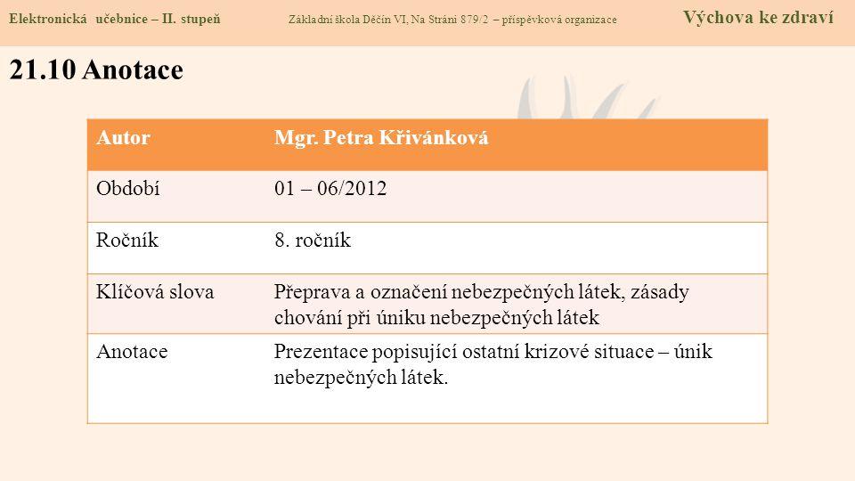 Elektronická učebnice – II. stupeň Základní škola Děčín VI, Na Stráni 879/2 – příspěvková organizace Výchova ke zdraví 21.10 Anotace AutorMgr. Petra K