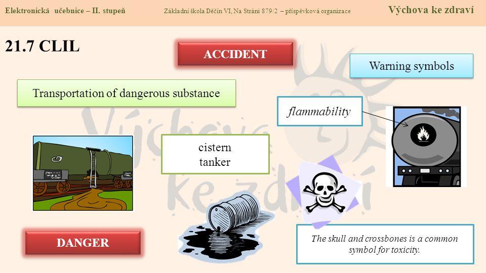 21.8 Test znalostí Správné odpovědi: 1.K nejrozšířenějším nebezpečným látkám patří: a/ fosgen a sirovodík b/ formaldehyd a kyanovodík c/ chlór a amoniak d/ fosgen a oxid siřičitý 3.