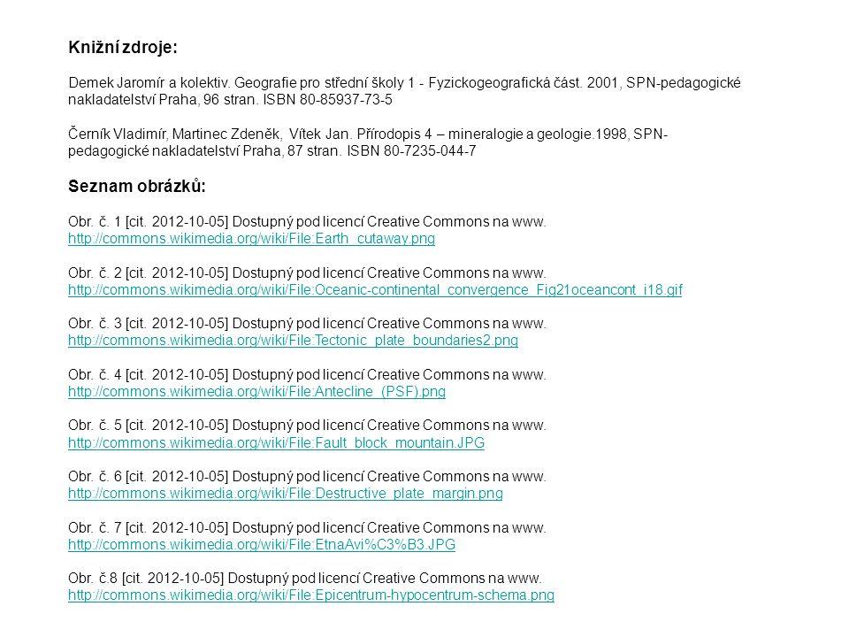 Knižní zdroje: Demek Jaromír a kolektiv. Geografie pro střední školy 1 - Fyzickogeografická část. 2001, SPN-pedagogické nakladatelství Praha, 96 stran