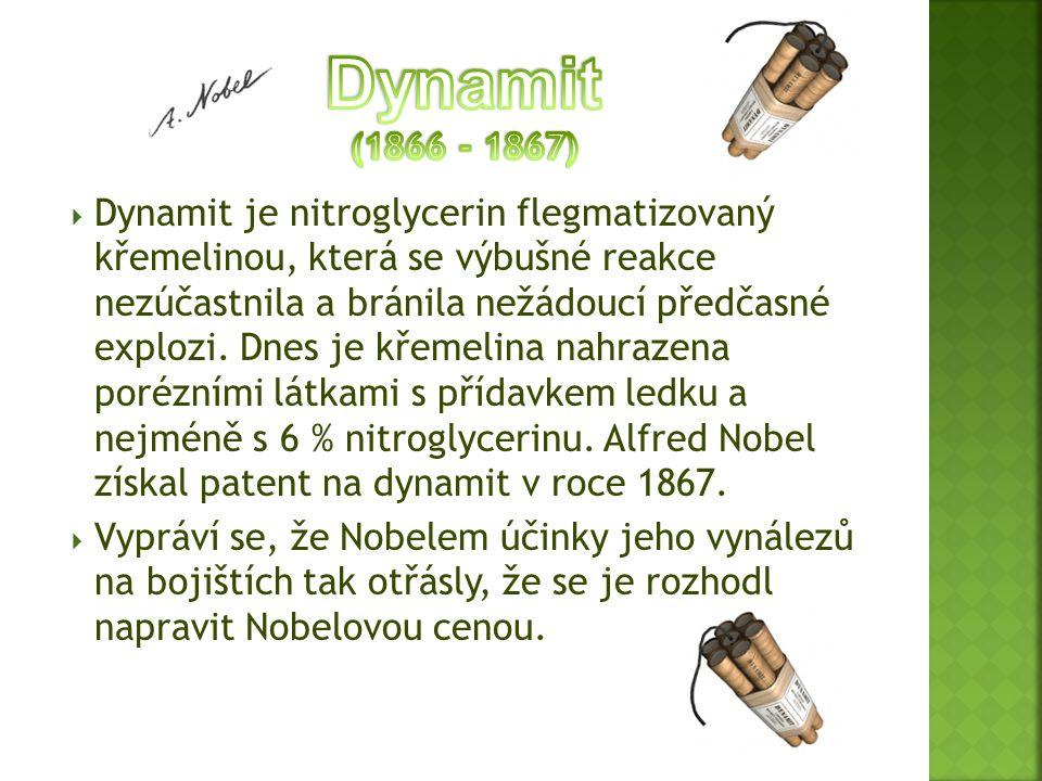  Dynamit je nitroglycerin flegmatizovaný křemelinou, která se výbušné reakce nezúčastnila a bránila nežádoucí předčasné explozi. Dnes je křemelina na