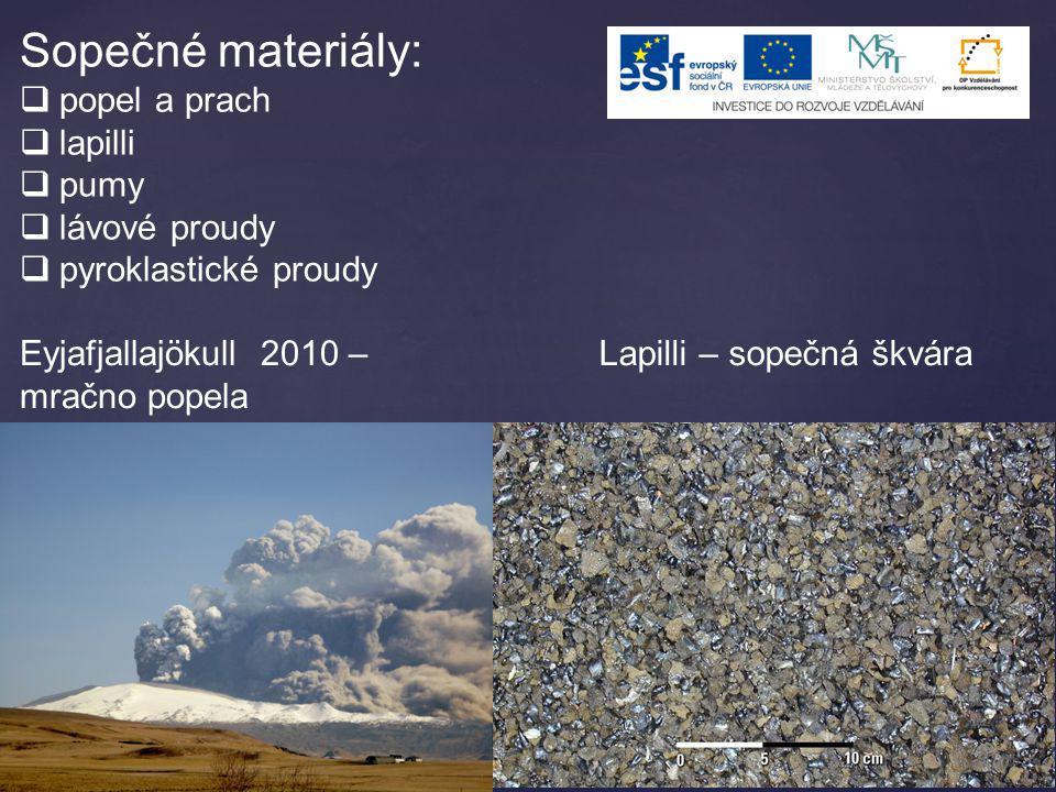 Sopečné materiály:  popel a prach  lapilli  pumy  lávové proudy  pyroklastické proudy Lapilli – sopečná škváraEyjafjallajökull 2010 – mračno pope