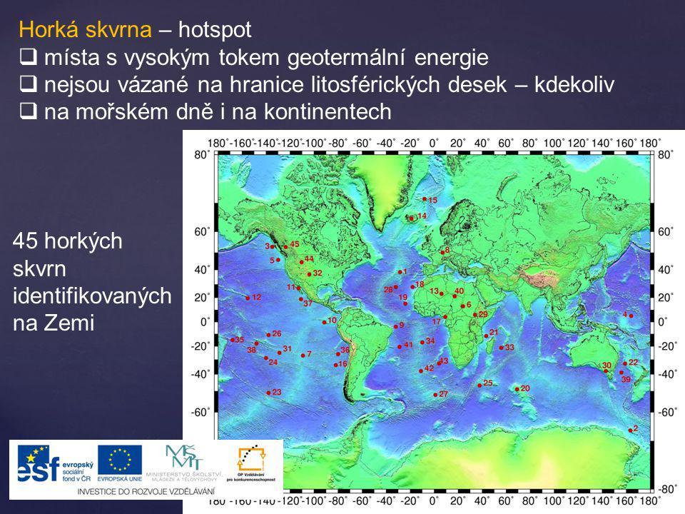 Horká skvrna – hotspot  místa s vysokým tokem geotermální energie  nejsou vázané na hranice litosférických desek – kdekoliv  na mořském dně i na ko