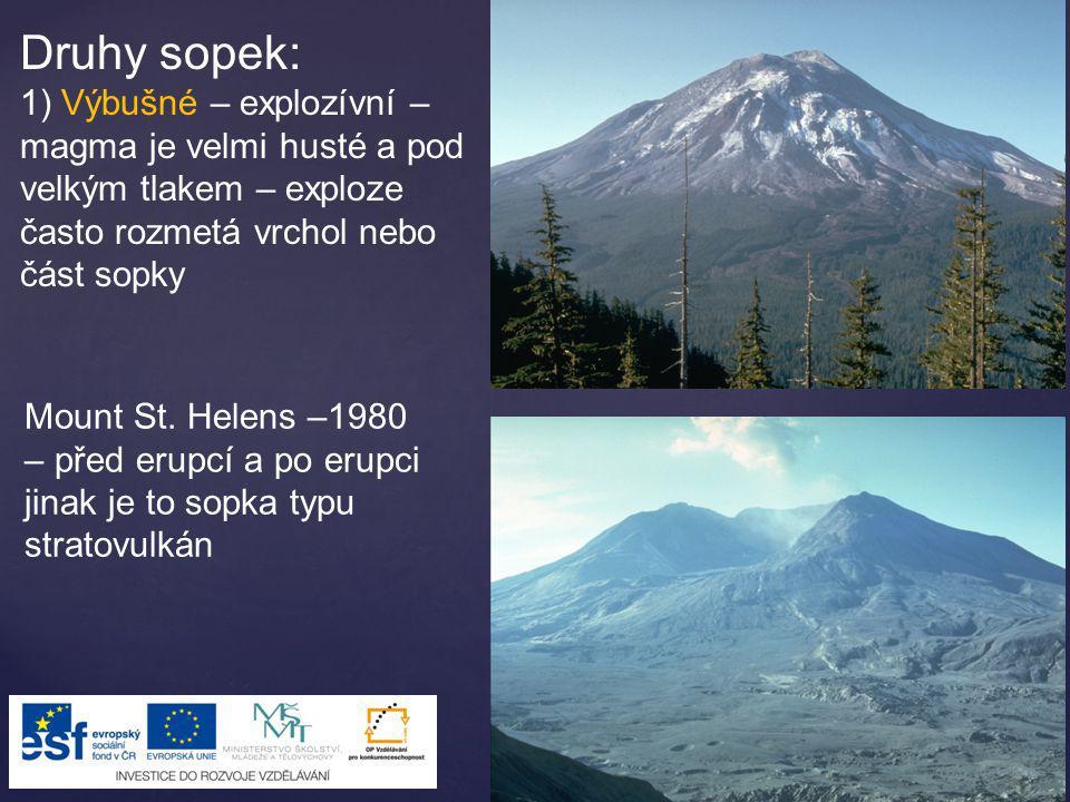 Druhy sopek: 1) Výbušné – explozívní – magma je velmi husté a pod velkým tlakem – exploze často rozmetá vrchol nebo část sopky Mount St. Helens –1980