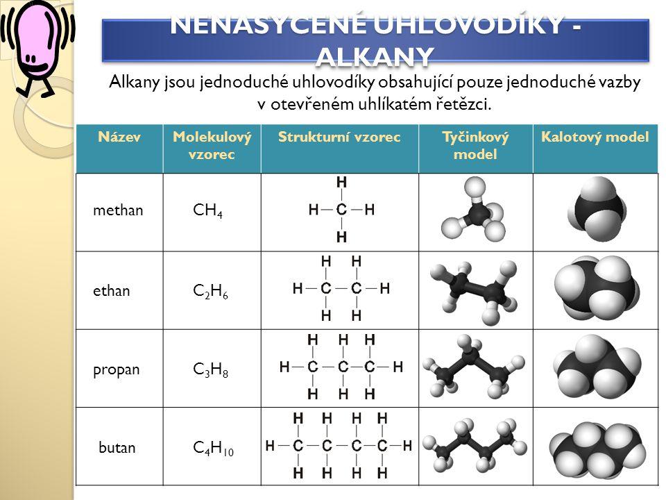NázevMolekulový vzorec Strukturní vzorecTyčinkový model Kalotový model NENASYCENÉ UHLOVODÍKY - ALKANY Alkany jsou jednoduché uhlovodíky obsahující pouze jednoduché vazby v otevřeném uhlíkatém řetězci.