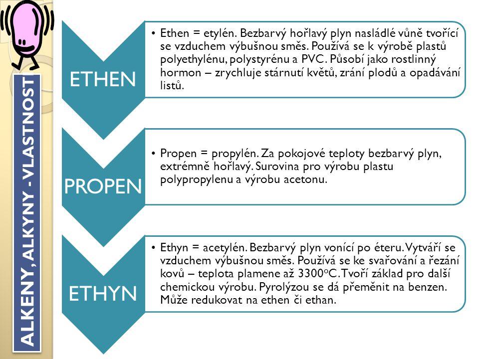 VYLUŠTI KŘÍŽOVKU BUTAN C 4 H 10 METHAN Plyn nachází se ve vesmíru (Jupiter) LPG Palivo pro auta HORMON Ethen působí jako rostlinný … SVAŘOVÁNÍ Acetylén s kyslíkem se používá k … PROPAN Součást plynné směsi v tlakových lahvích VODÍK Prvek s jedním protonem HOŘÍ Veškeré plynné uhlovodíky s kyslíkem dobře … ALKENY Jednu dvojnou vazbu obsahují… TYČINKOVÝ Model zobrazování atomů v molekule