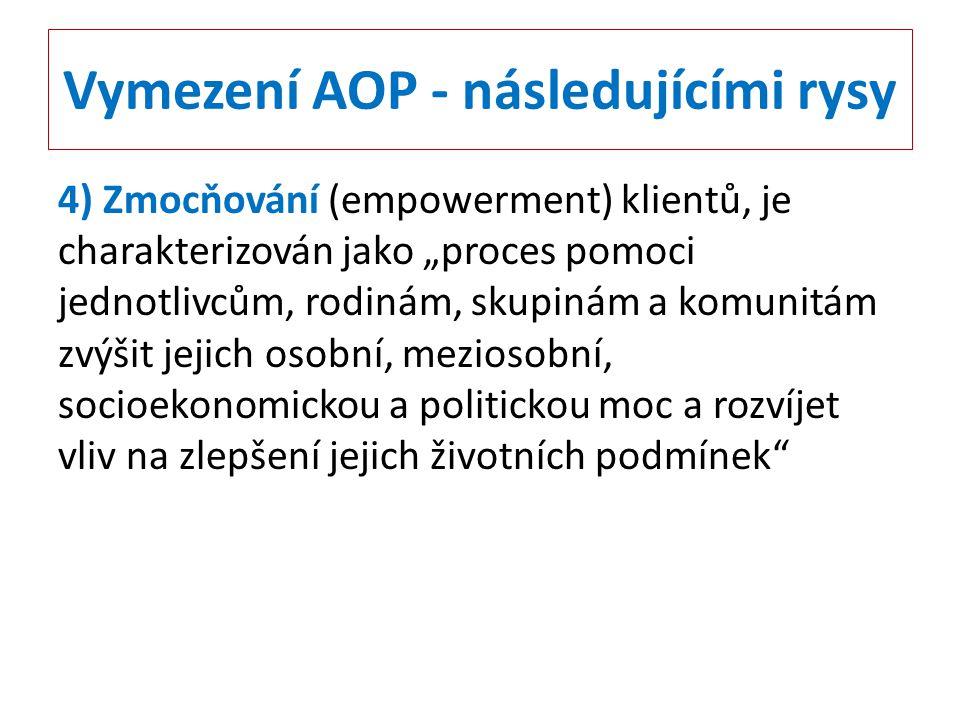"""Vymezení AOP - následujícími rysy 4) Zmocňování (empowerment) klientů, je charakterizován jako """"proces pomoci jednotlivcům, rodinám, skupinám a komuni"""