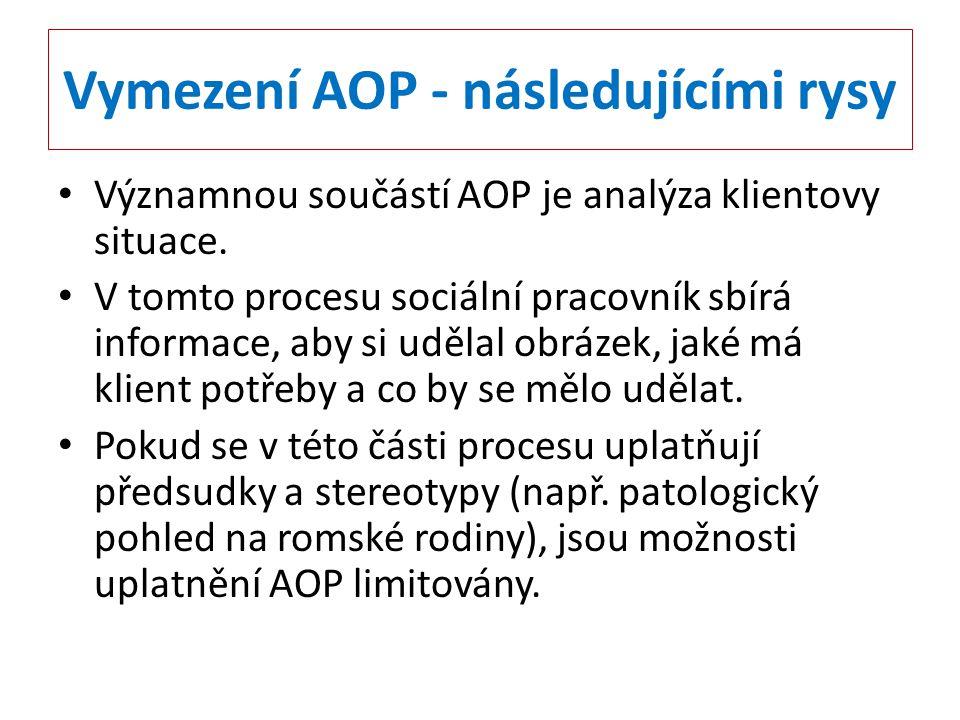 Vymezení AOP - následujícími rysy Významnou součástí AOP je analýza klientovy situace. V tomto procesu sociální pracovník sbírá informace, aby si uděl