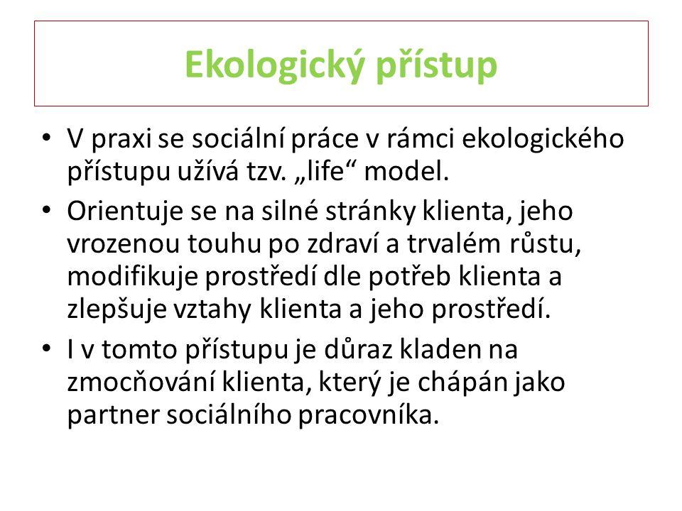 """Ekologický přístup V praxi se sociální práce v rámci ekologického přístupu užívá tzv. """"life"""" model. Orientuje se na silné stránky klienta, jeho vrozen"""