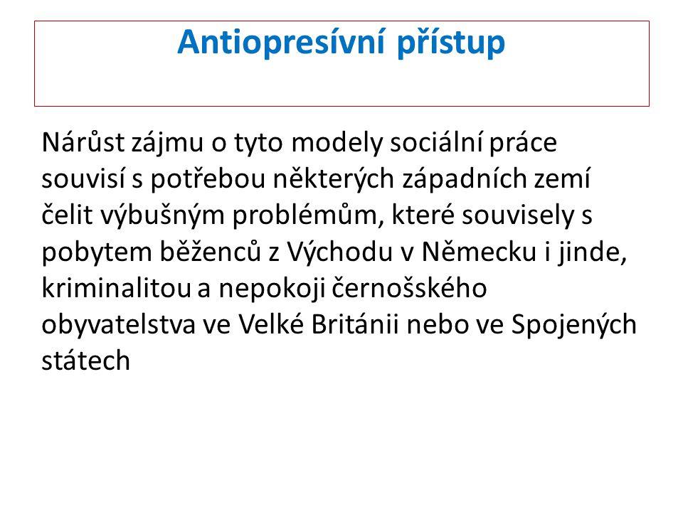 Antiopresívní přístup Antiopresivní přístupy ( AOP ) jsou zajímavé tím, že jejich autoři definovali jako cíl intervencí sociálních pracovníků - změnu situace u statusově a kulturně znevýhodněných menšin.