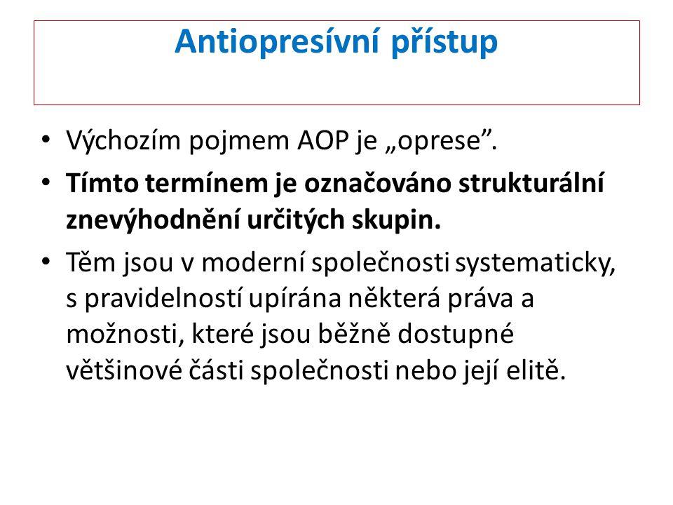 """Antiopresívní přístup Výchozím pojmem AOP je """"oprese"""". Tímto termínem je označováno strukturální znevýhodnění určitých skupin. Těm jsou v moderní spol"""