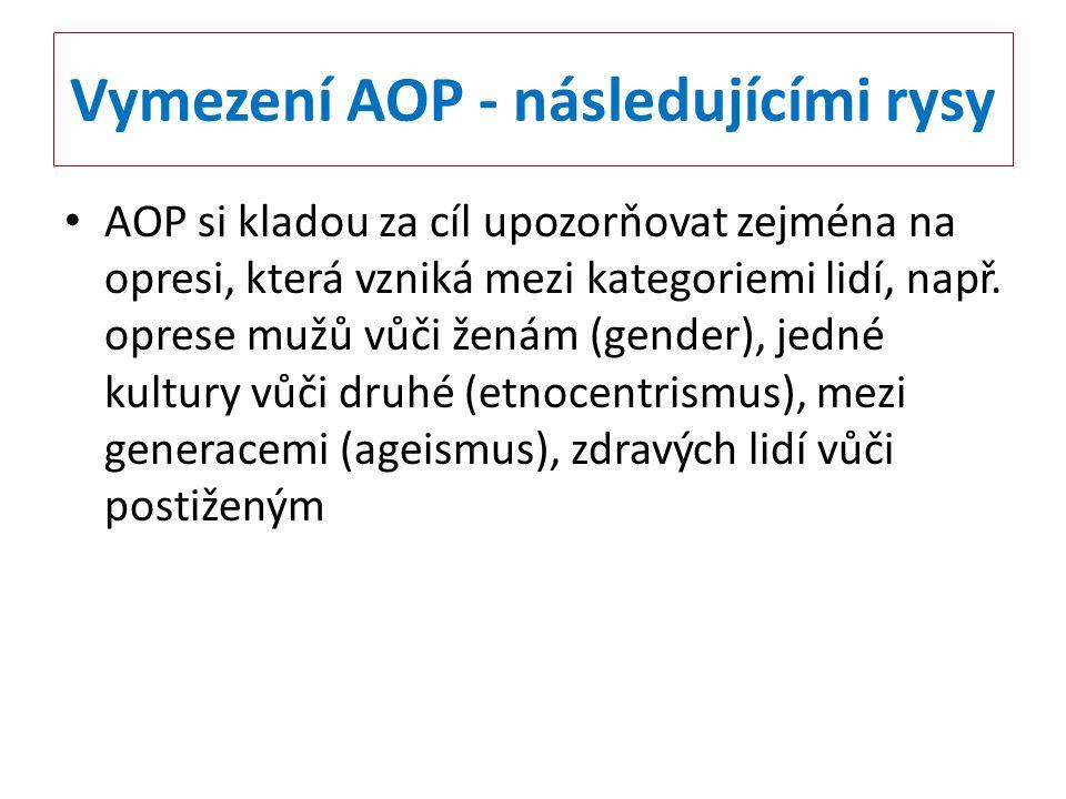 Vymezení AOP - následujícími rysy AOP si kladou za cíl upozorňovat zejména na opresi, která vzniká mezi kategoriemi lidí, např. oprese mužů vůči ženám