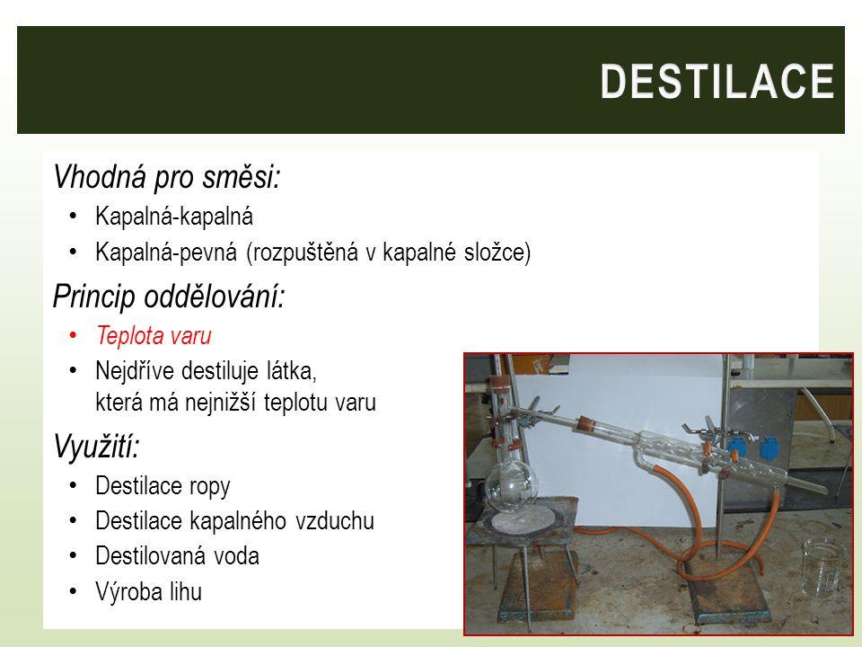 Vhodná pro směsi: Kapalná-kapalná Kapalná-pevná (rozpuštěná v kapalné složce) Princip oddělování: Teplota varu Nejdříve destiluje látka, která má nejn