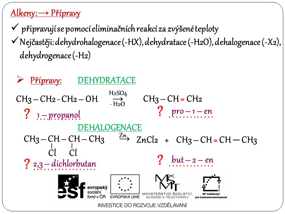 Alkeny: → Reaktivita Jednou z nejdůležitějších reakcí alkenů je Friedel – Craftsova alkylace, dále pak polymerace, a adiční reakce ( halogenů, vody, bezkyslíkatých kyselin, vodíku)  Reakce: FRIEDEL – CRAFTSOVA ALKYLACE 1.