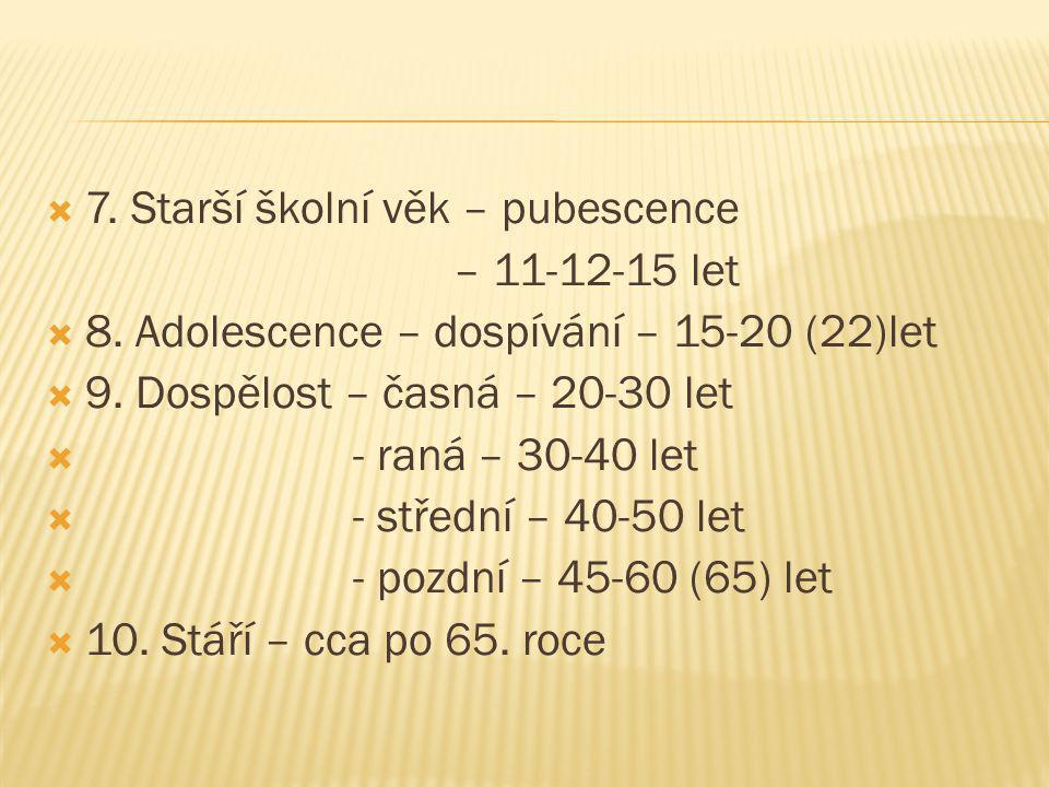  7. Starší školní věk – pubescence – 11-12-15 let  8.